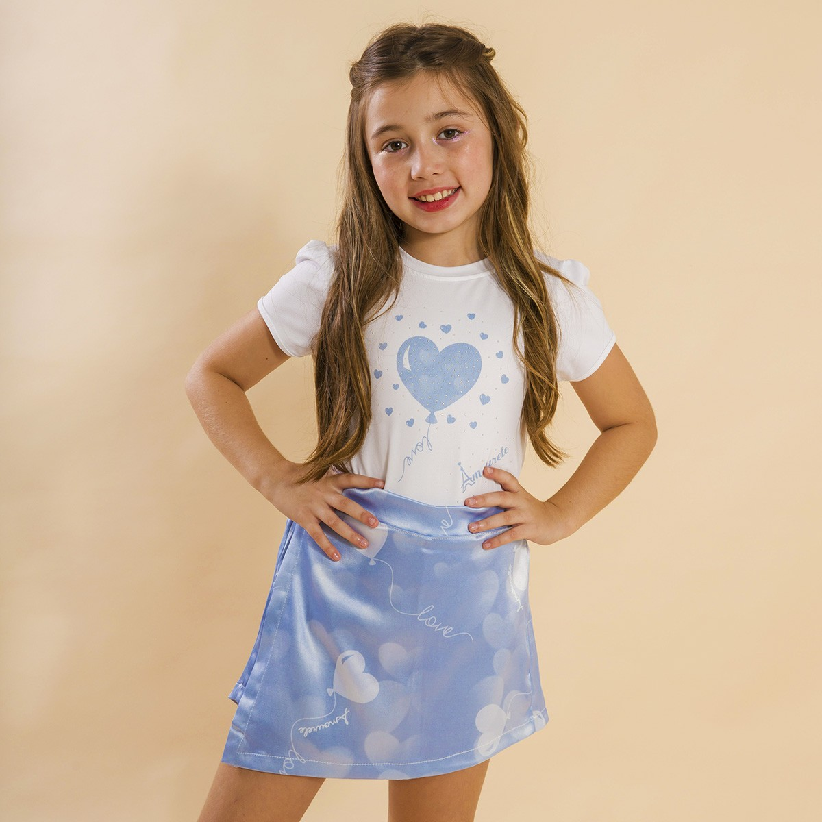 Conjunto Blusa e Shorts Saia Infantil Balão Azul