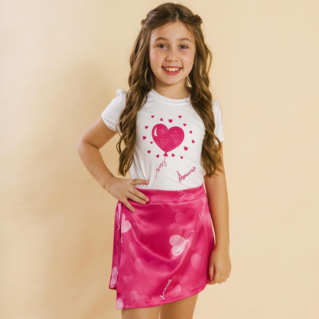 Conjunto Blusa e Shorts Saia Infantil Balão Rosa