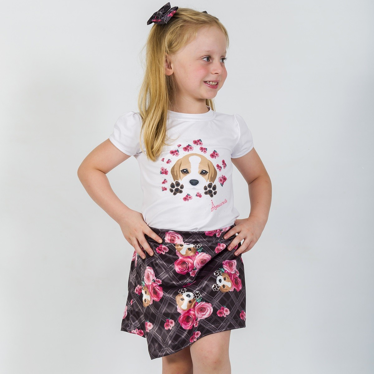 Conjunto Blusa e Shorts Saia Infantil Beagle Xadrez Preto