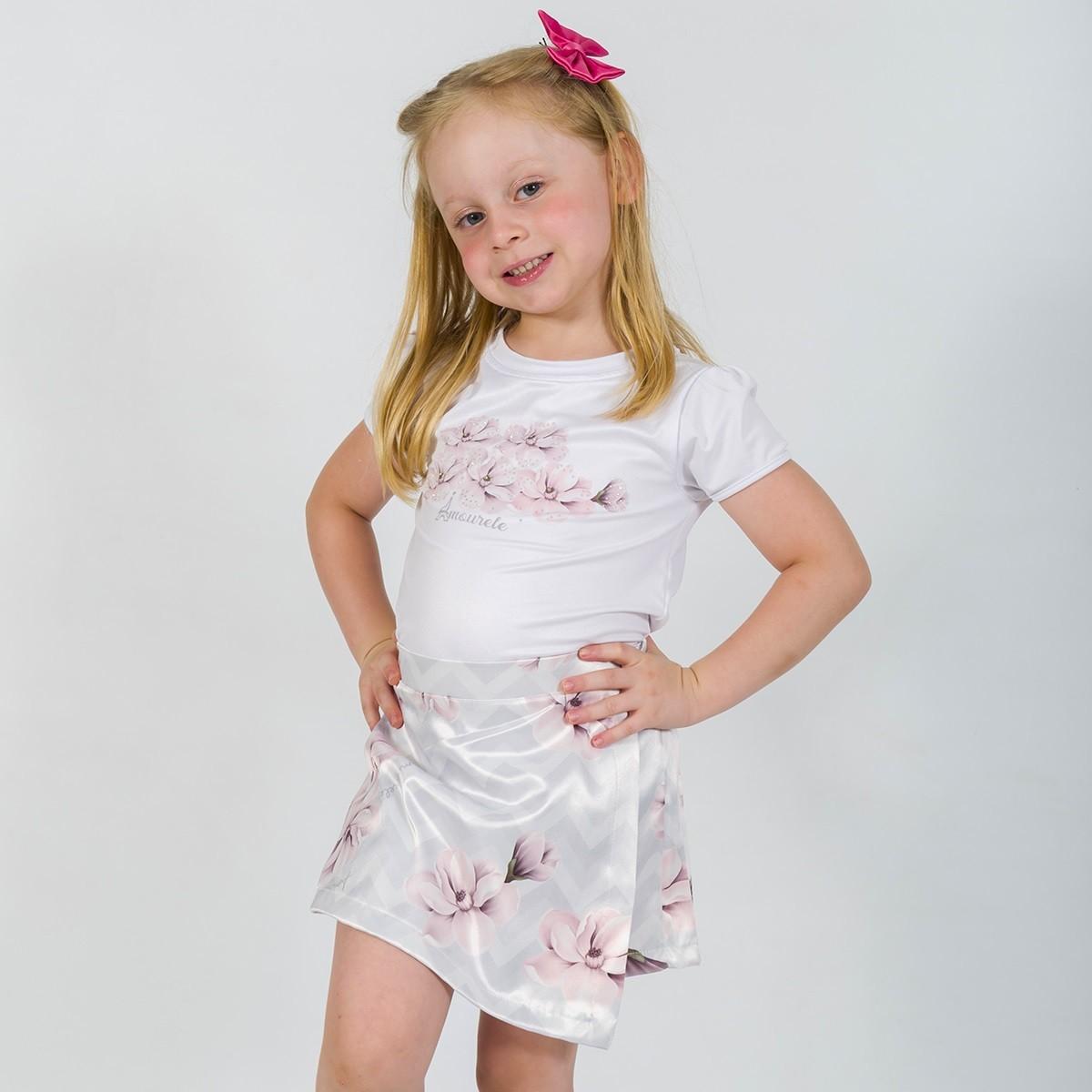 Conjunto Blusa e Shorts Saia Infantil Chevron Cinza