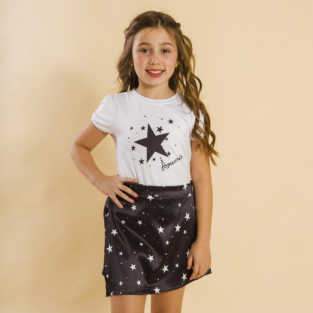 Conjunto Blusa e Shorts Saia Infantil Estrelas Preto