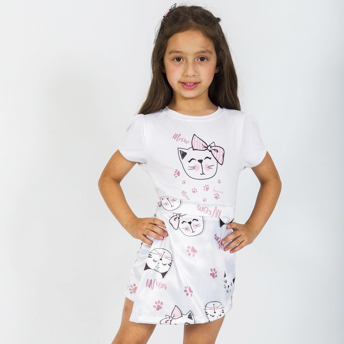 BAZAR - Conjunto Blusa e Shorts Saia Infantil Gatinhos Cinza