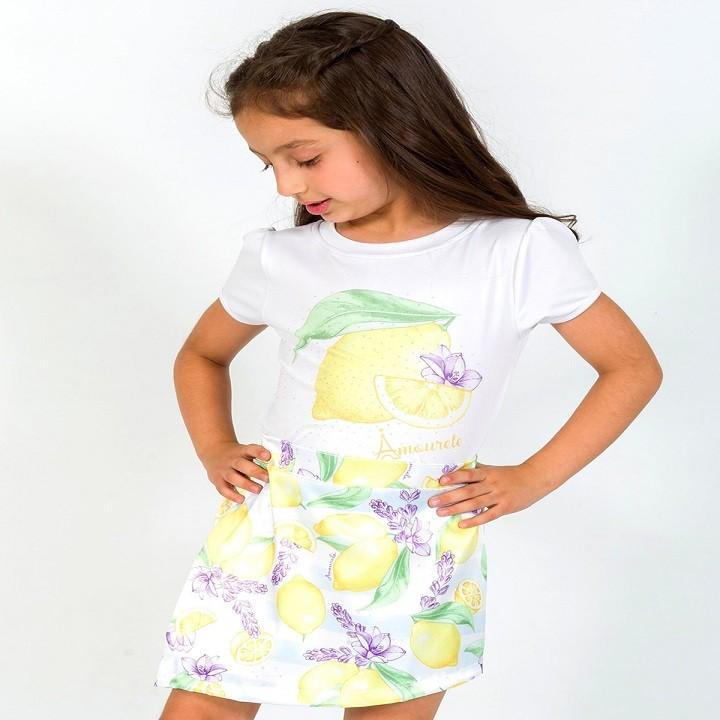 BAZAR - Conjunto Blusa e Shorts Saia Infantil Limão Amarelo