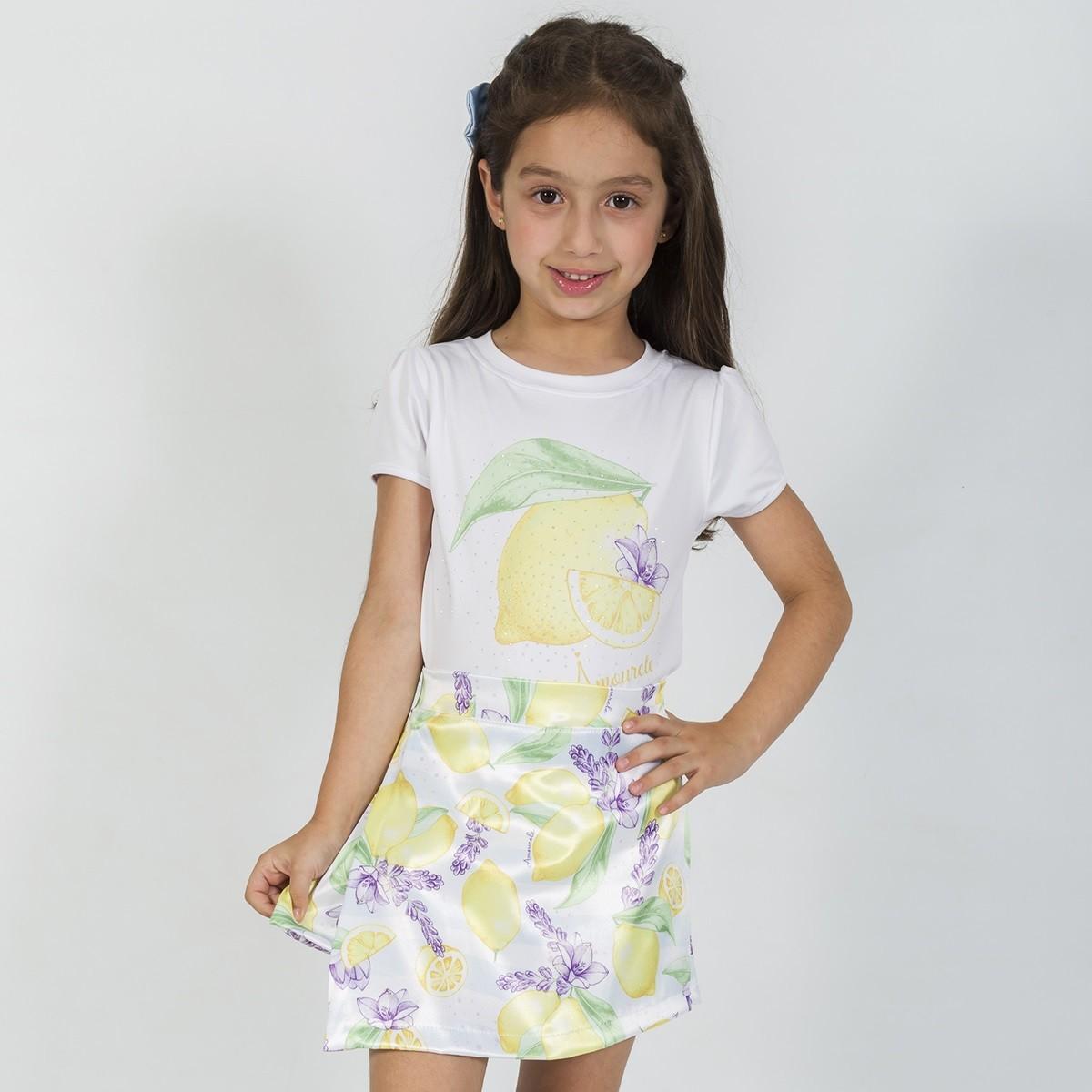 Conjunto Blusa e Shorts Saia Infantil Limão Amarelo