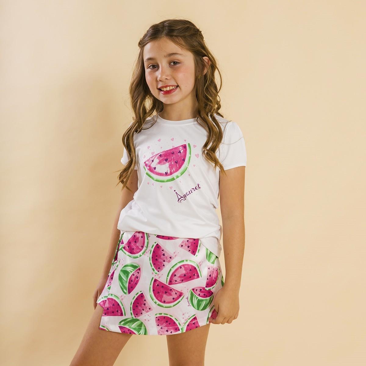 Conjunto Blusa e Shorts Saia Infantil Melancia