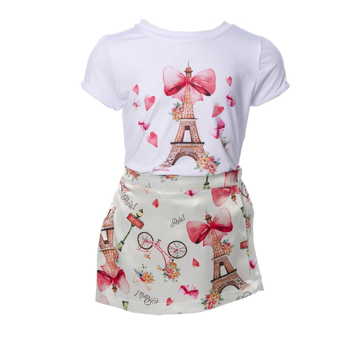 Conjunto Blusa e Shorts Saia Infantil Paris