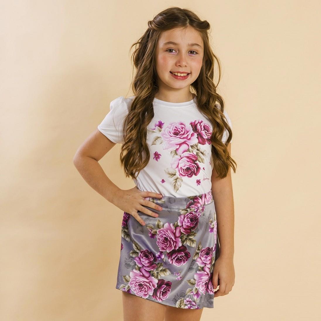 Conjunto Blusa e Shorts Saia Infantil Rosas Cinza