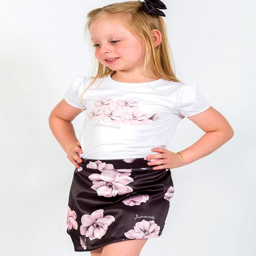 Conjunto Blusa e Shorts Saia Infantil Tulipa Preto