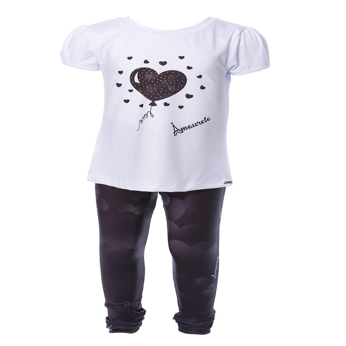 Conjunto Infantil Blusa e Legging Comprida Balão Preto