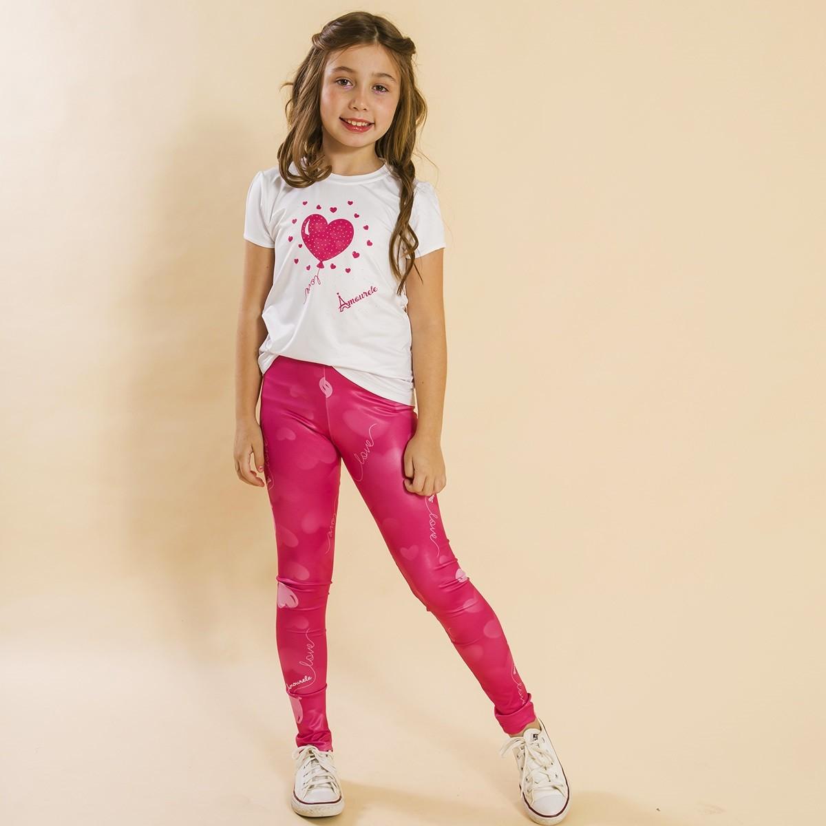Conjunto Infantil Blusa e Legging Comprida Balão Rosa