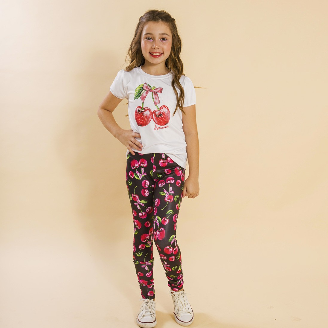 Conjunto Infantil Blusa e Legging Comprida Cereja