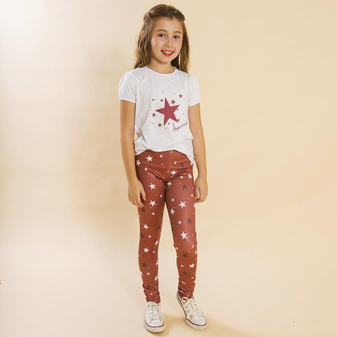 BAZAR - Conjunto Infantil Blusa e Legging Comprida Estrelas Vermelho