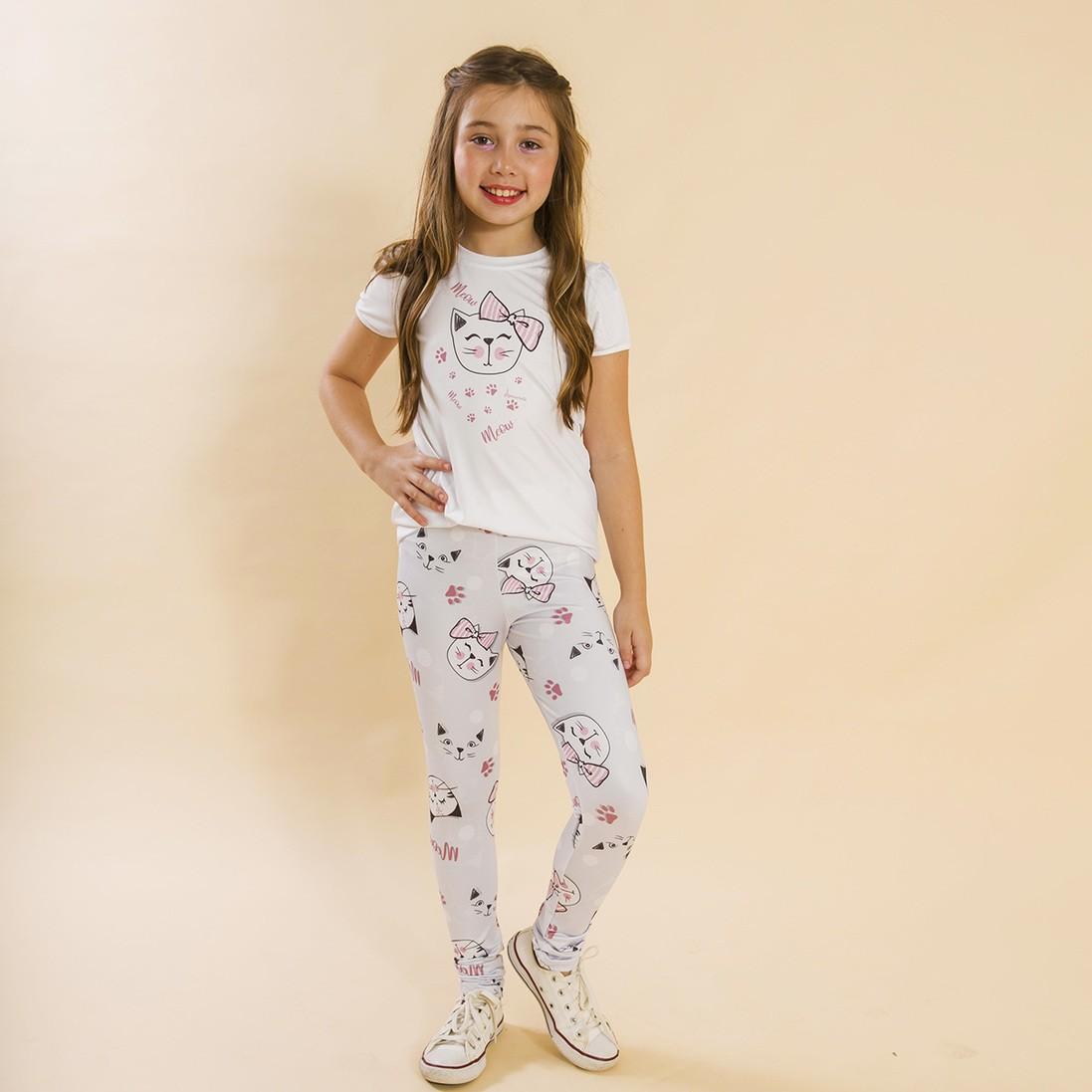 Conjunto Infantil Blusa e Legging Comprida Gatinhos Cinza