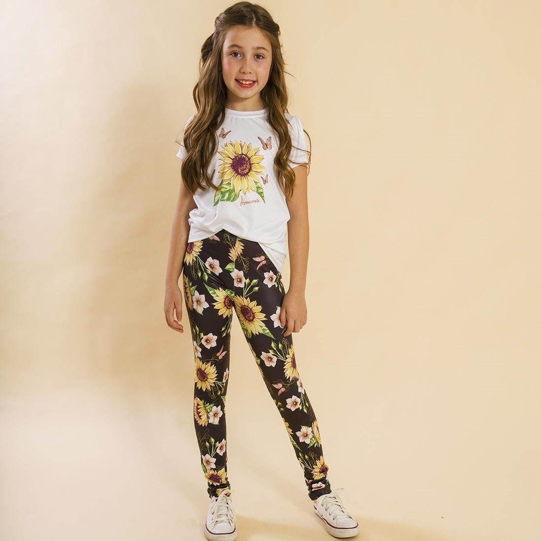 BAZAR - Conjunto Infantil Blusa e Legging Comprida Girassol