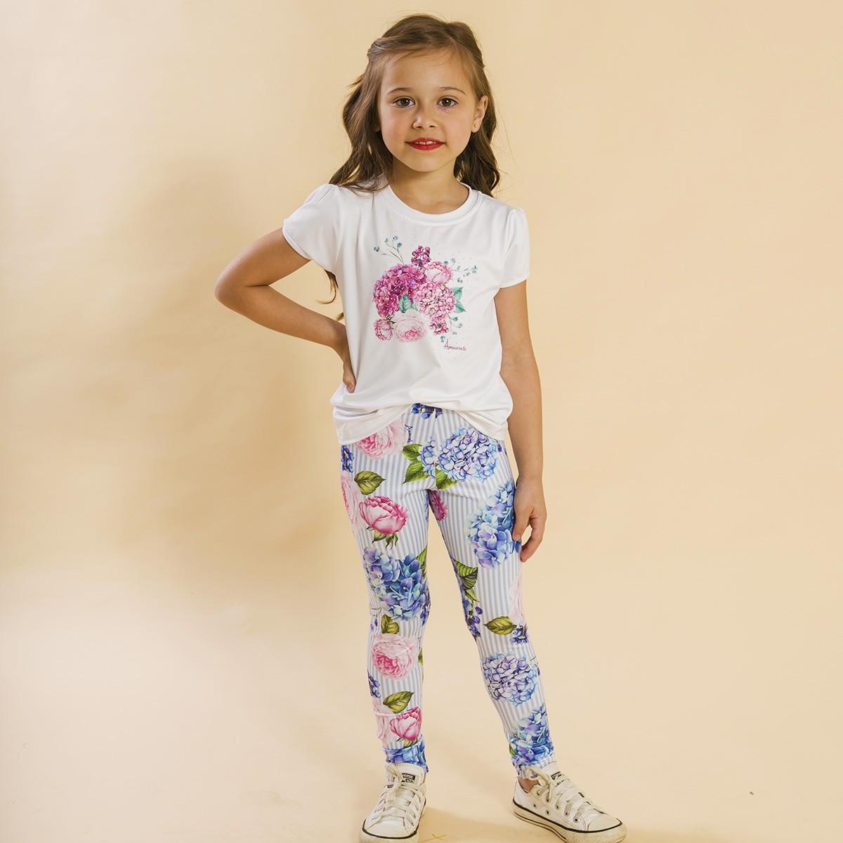 Conjunto Infantil Blusa e Legging Comprida Listras Azul Floral