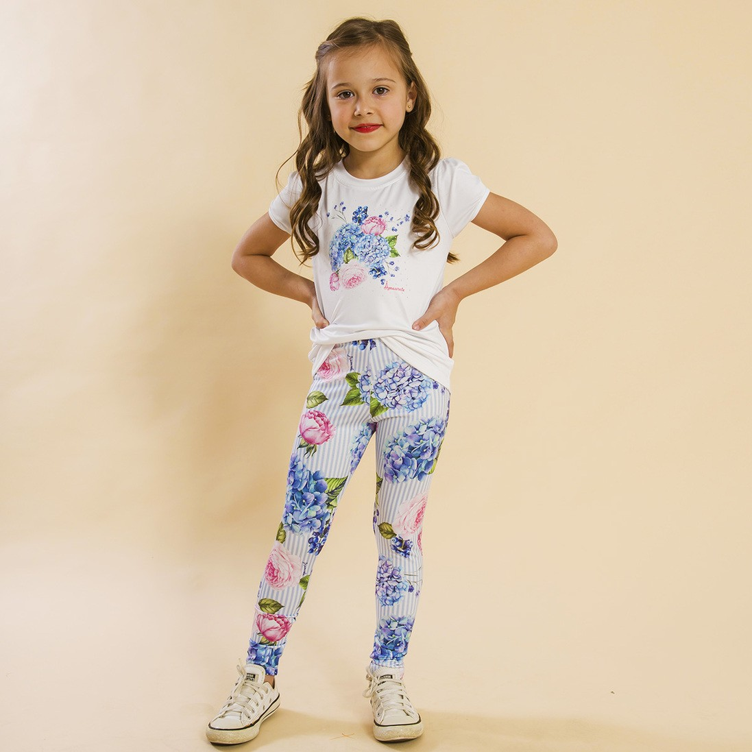 Conjunto Infantil Blusa e Legging Comprida Listras Floral Azul
