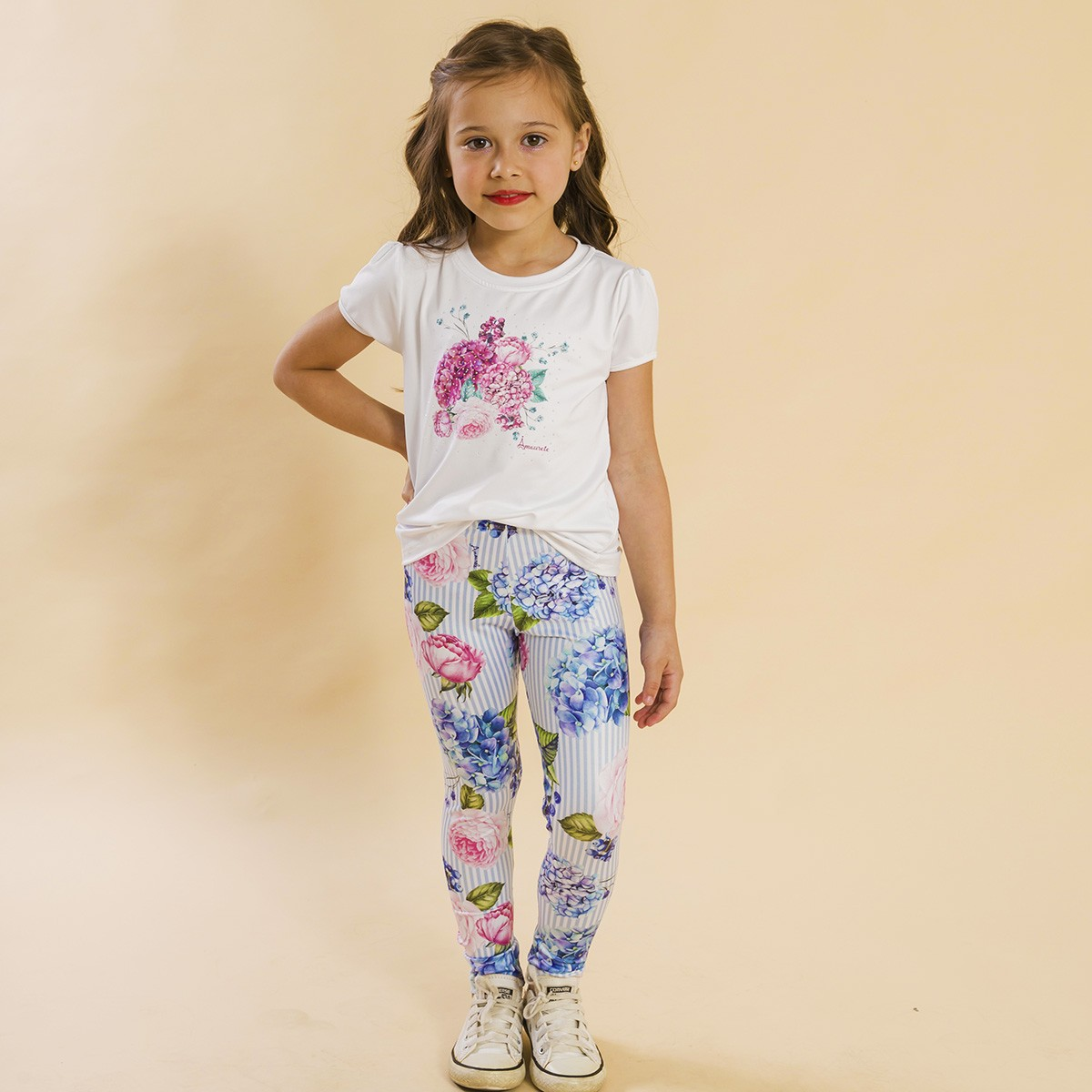Conjunto Infantil Blusa e Legging Comprida Listras Floral Rosa