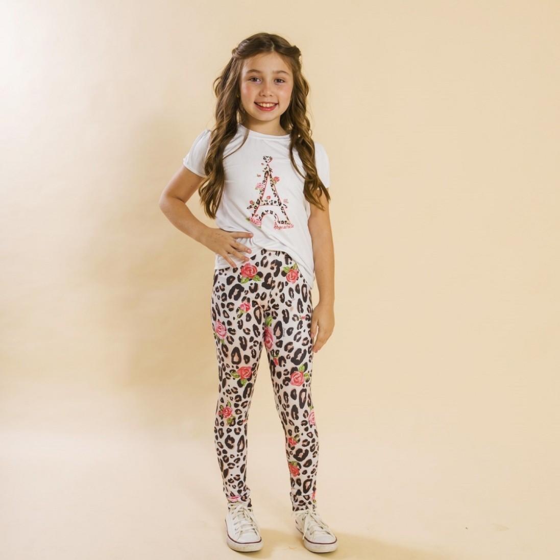 Conjunto Infantil Blusa e Legging Comprida Onça Marrom