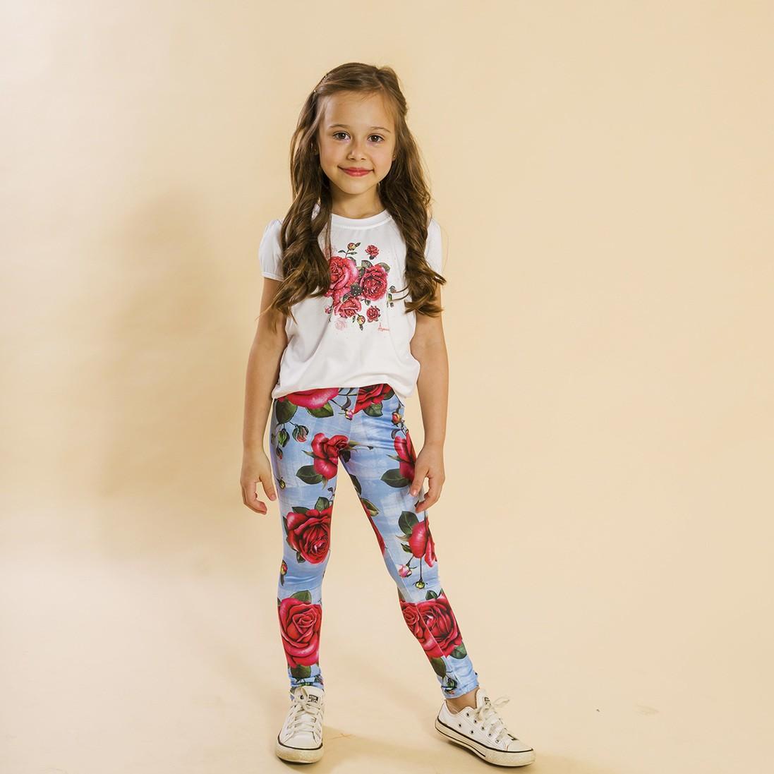 Conjunto Infantil Blusa e Legging Comprida Rosas Azul
