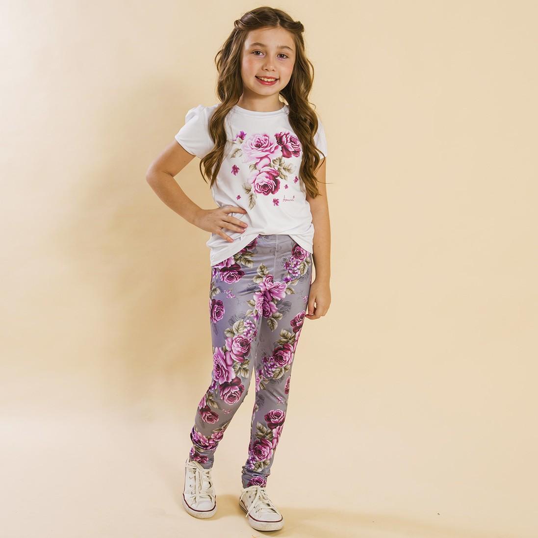BAZAR - Conjunto Infantil Blusa e Legging Comprida Rosas Cinza