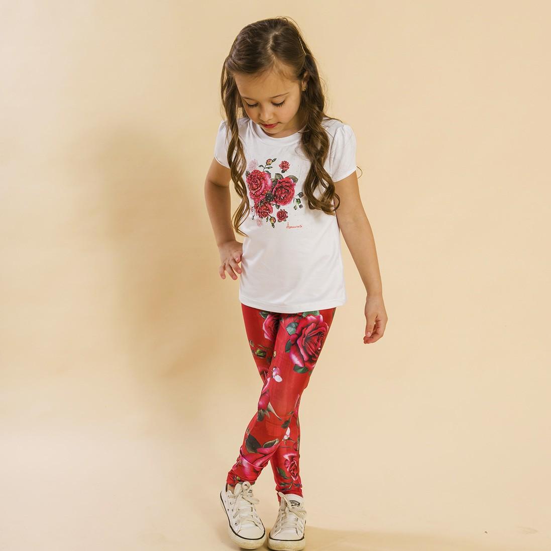Conjunto Infantil Blusa e Legging Comprida Rosas Vermelho