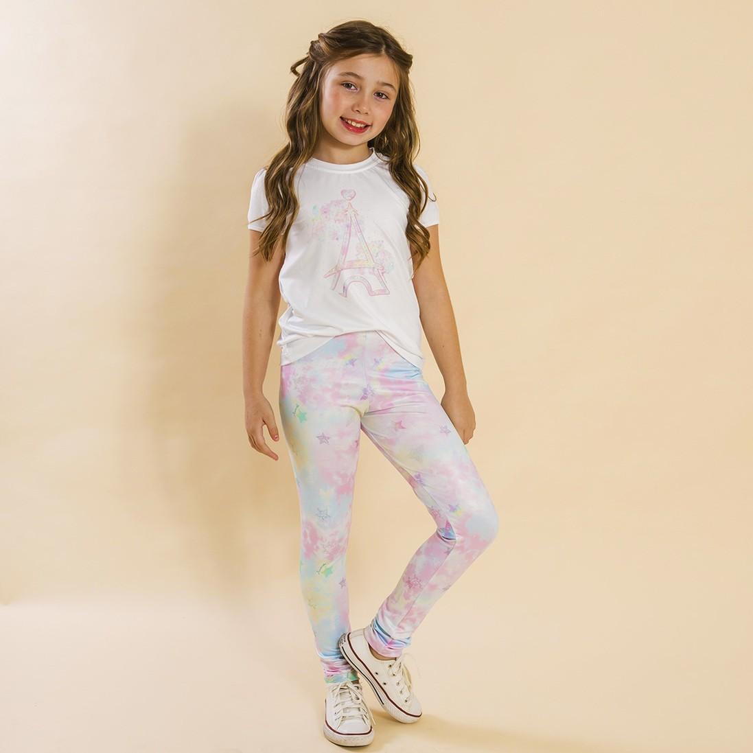 Conjunto Infantil Blusa e Legging Comprida Tie Dye Rosa