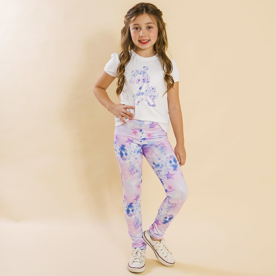 Conjunto Infantil Blusa e Legging Comprida Tie Dye Roxo