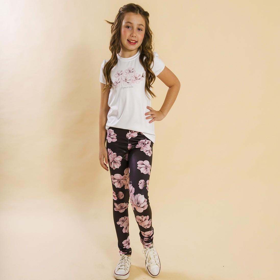 Conjunto Infantil Blusa e Legging Comprida Tulipa Preto