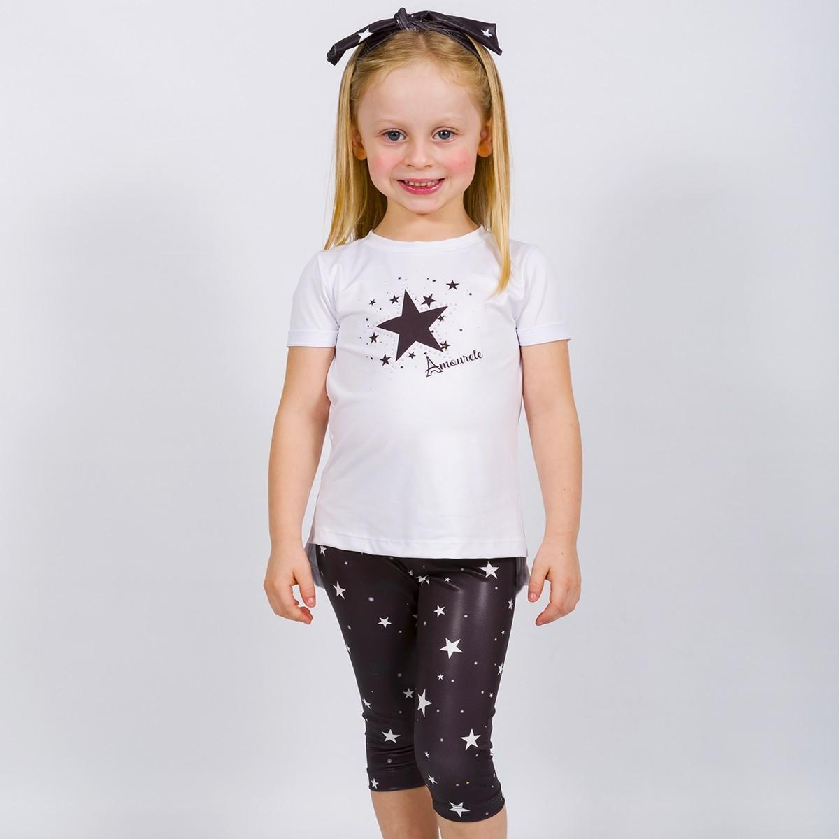 Conjunto Infantil Blusa e Legging Curta Estrelas Preto