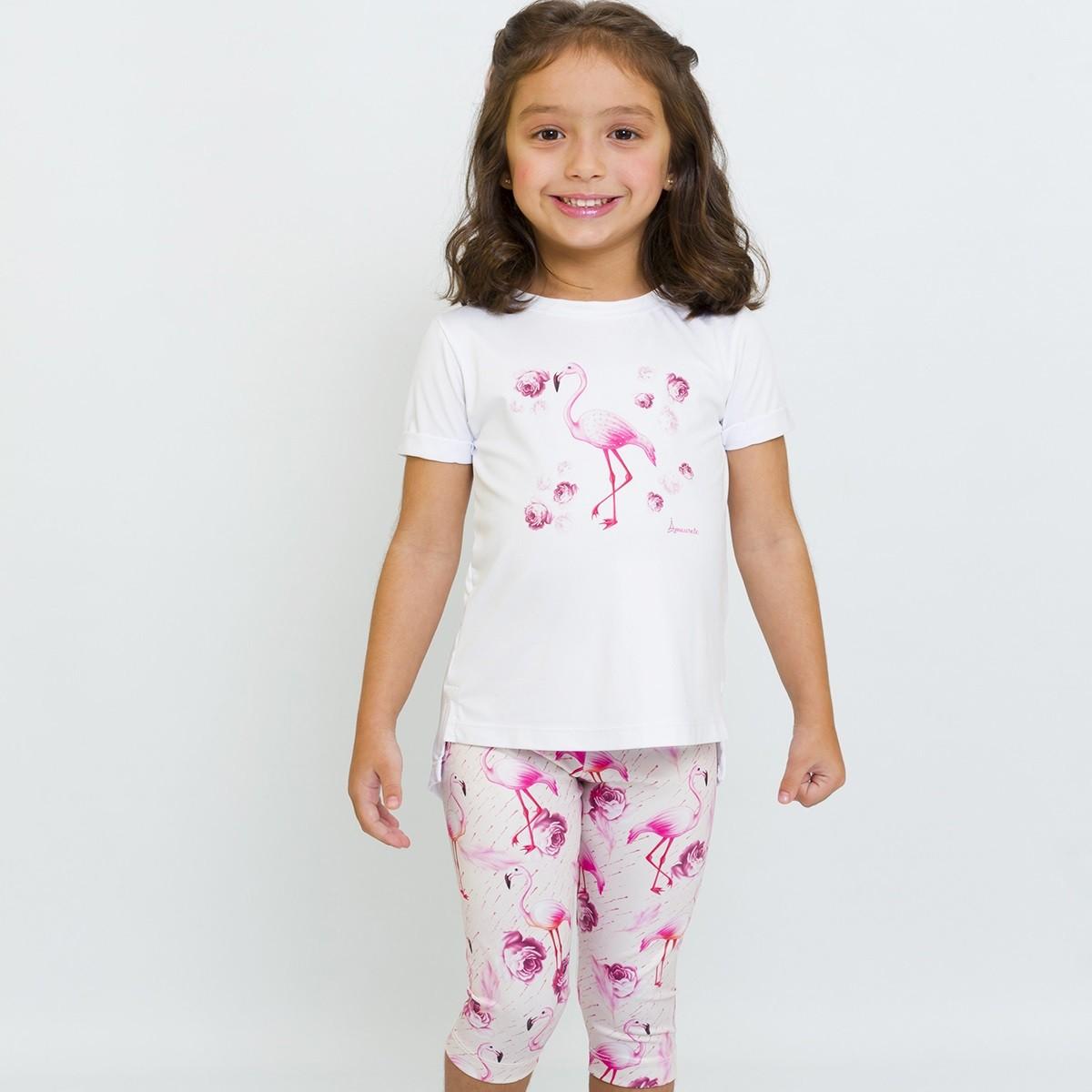 BAZAR - Conjunto Infantil Blusa e Legging Curta Flamingo