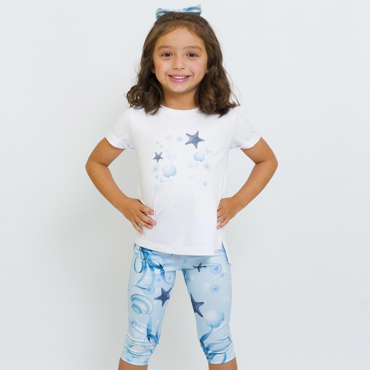 Conjunto Infantil Blusa e Legging Curta Fundo Mar Azul