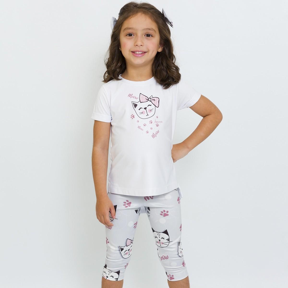 Conjunto Infantil Blusa e Legging Curta Gatinhos Cinza