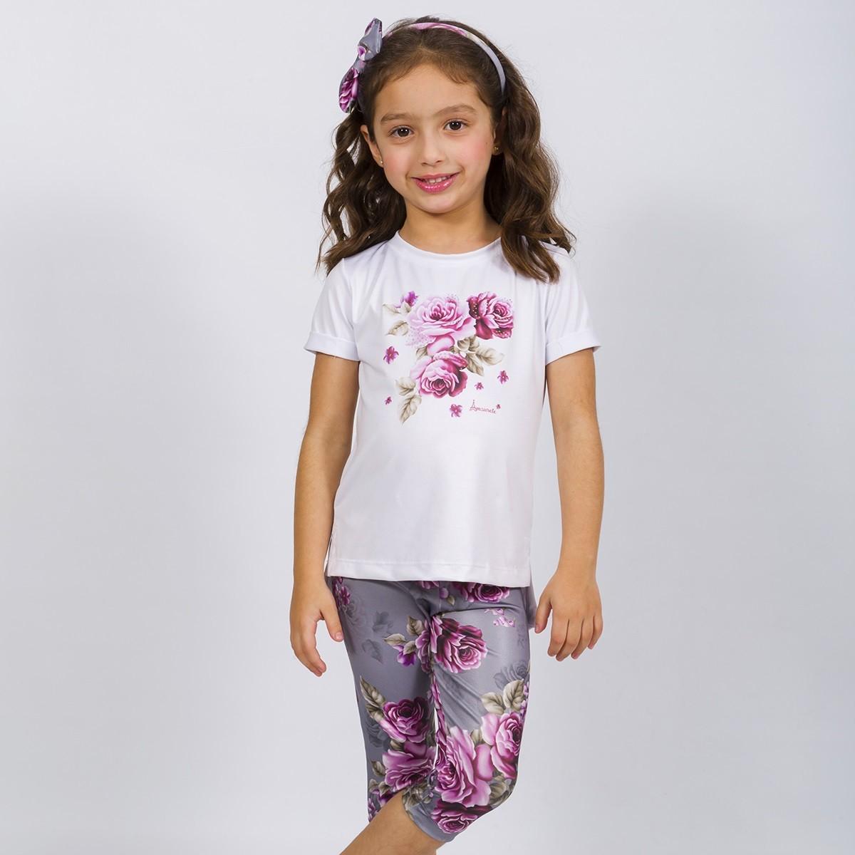 BAZAR - Conjunto Infantil Blusa e Legging Curta Rosas Cinza