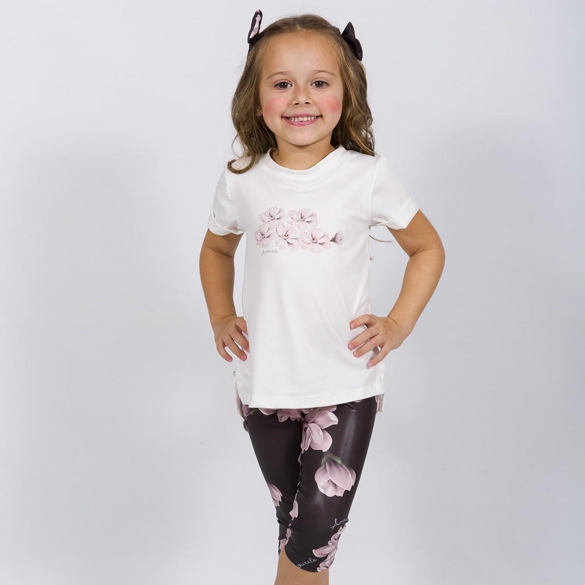 BAZAR - Conjunto Infantil Blusa e Legging Curta Tulipa Preto
