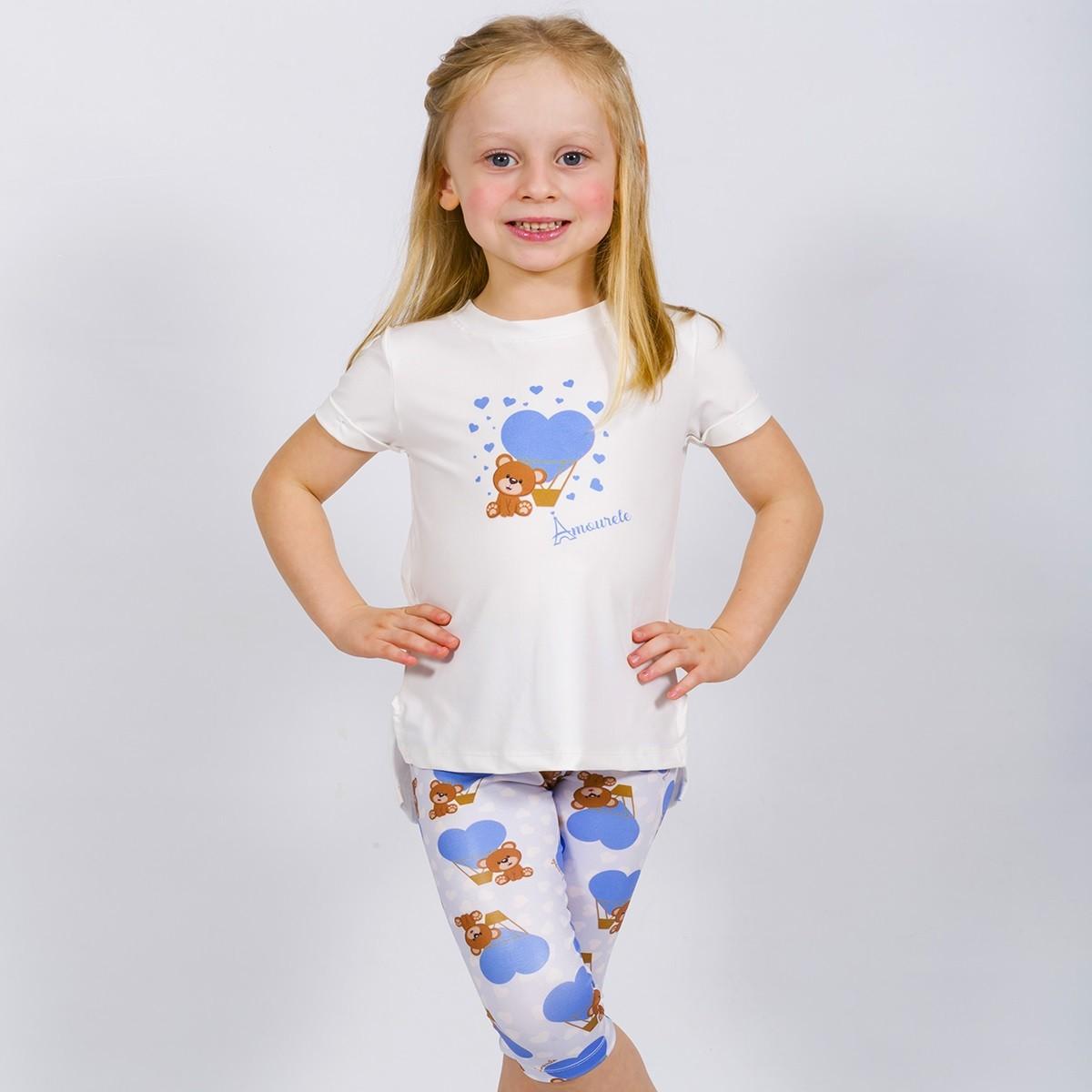 Conjunto Infantil Blusa e Legging Curta Urso Azul