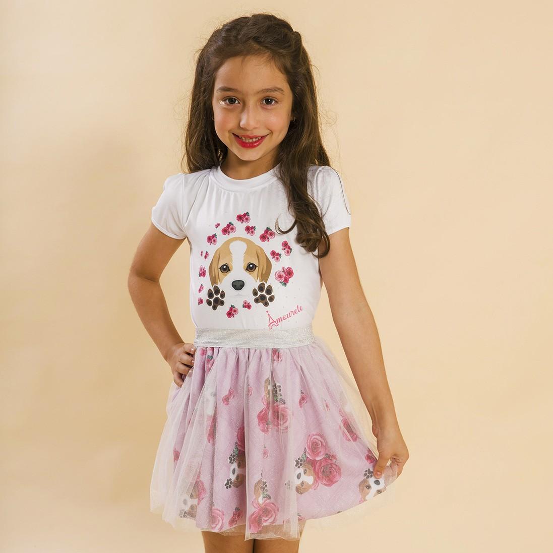 Conjunto Infantil Blusa e Saia Bailarina Beagle Xadrez Rosa