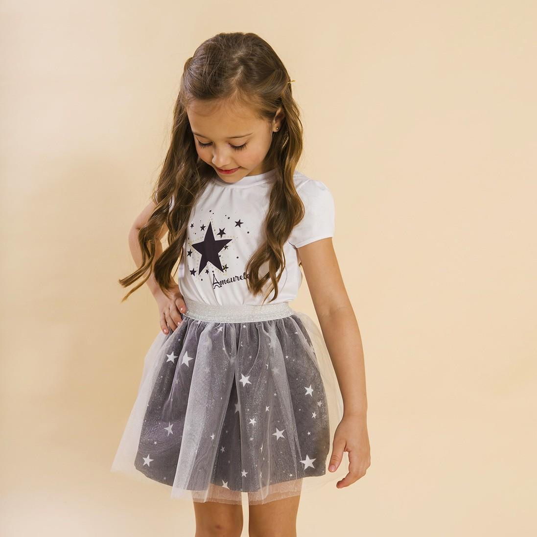 Conjunto Infantil Blusa e Saia Bailarina Estrelas Preto