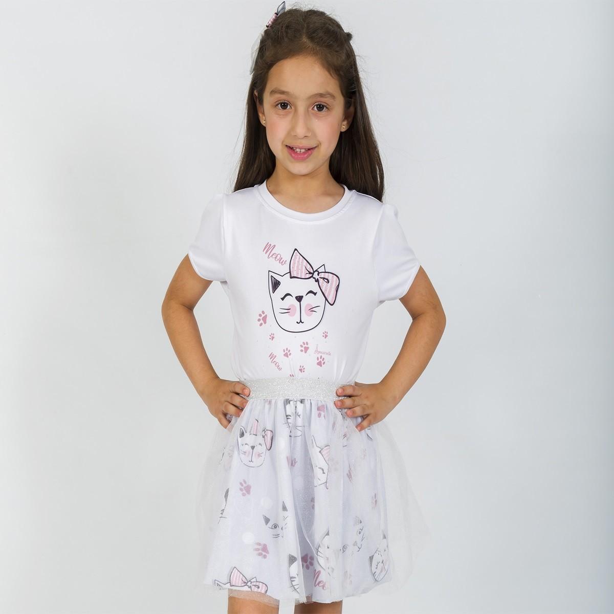 Conjunto Infantil Blusa e Saia Bailarina Gatinhos Cinza