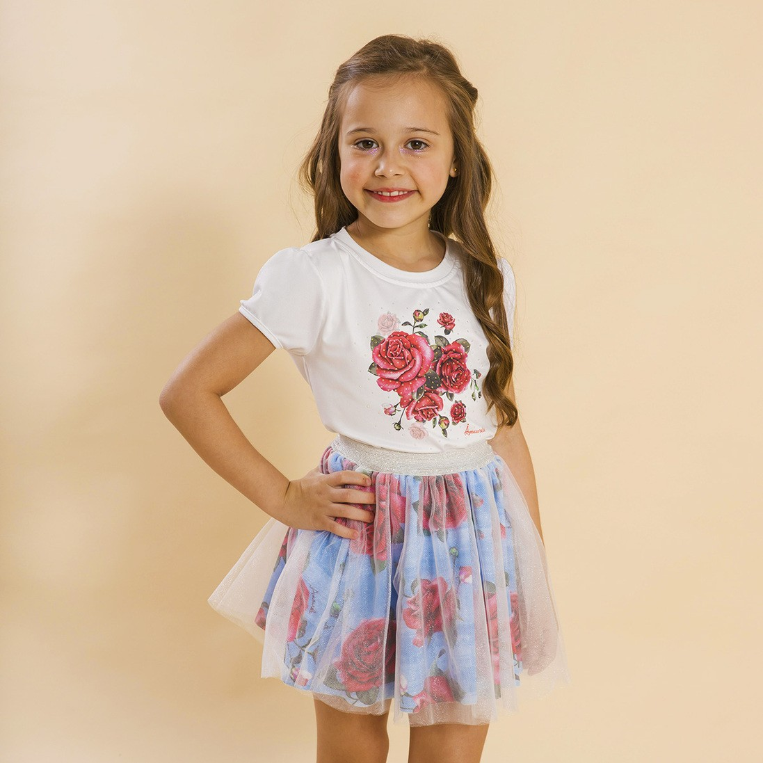 BAZAR - Conjunto Infantil Blusa e Saia Bailarina Rosas Azul