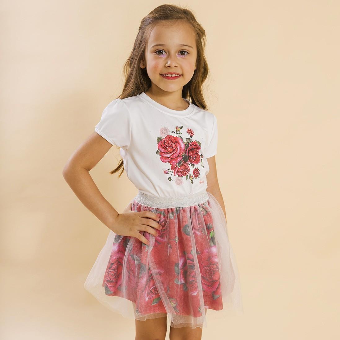 BAZAR - Conjunto Infantil Blusa e Saia Bailarina Rosas Vermelho