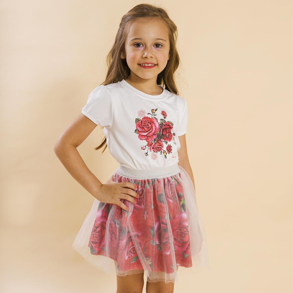 Conjunto Infantil Blusa e Saia Bailarina Rosas Vermelho