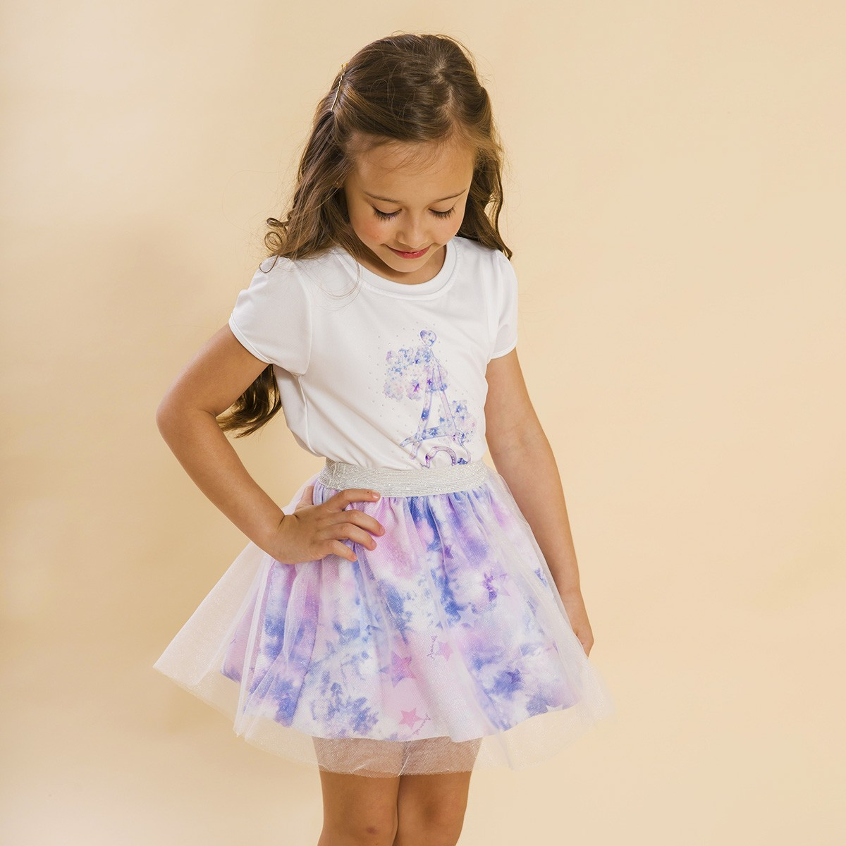 Conjunto Infantil Blusa e Saia Bailarina Tie Dye Roxo