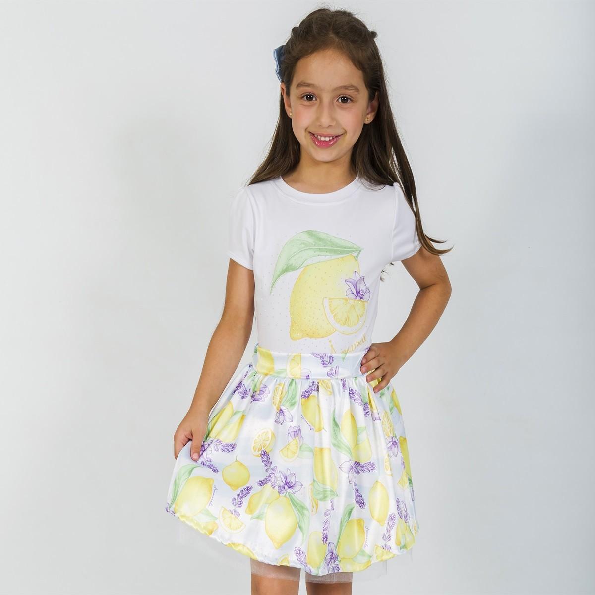 Conjunto Infantil Blusa e Saia Social Limão Amarelo