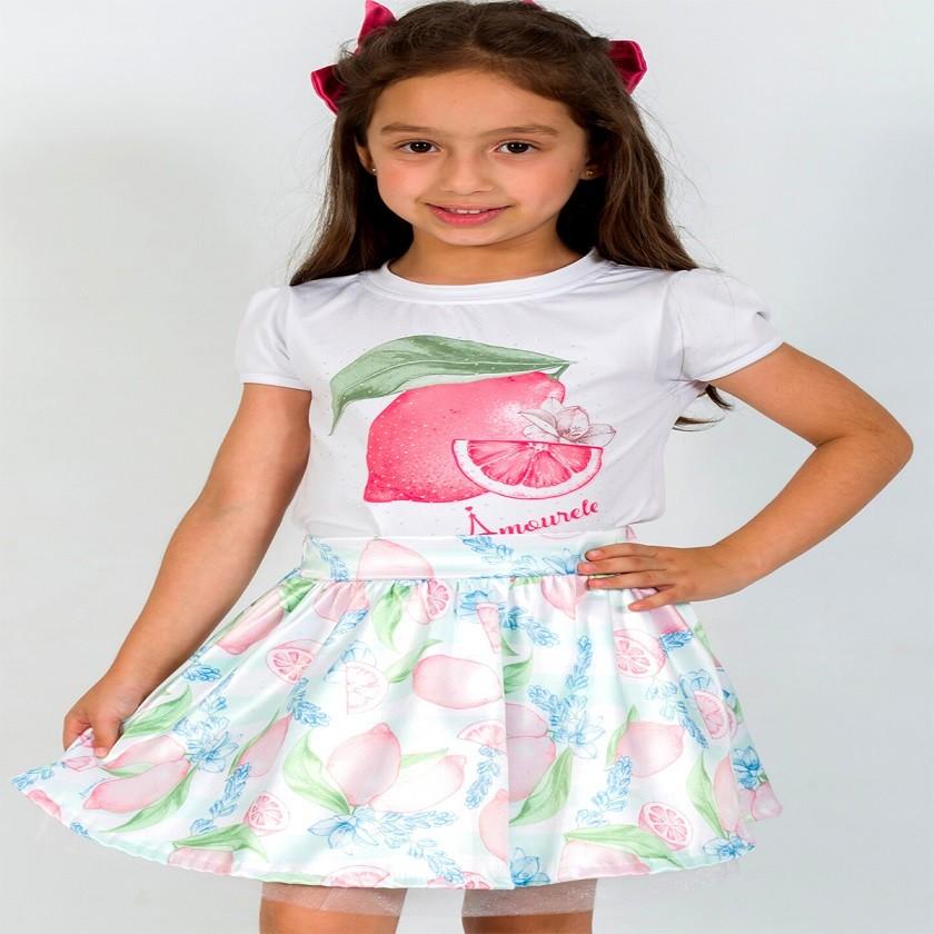 BAZAR - Conjunto Infantil Blusa e Saia Social Limão Vermelho