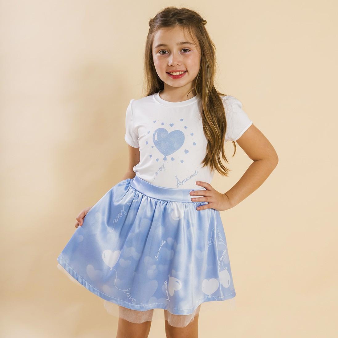 Conjunto Infantil Blusa e Saia Social Balão Azul