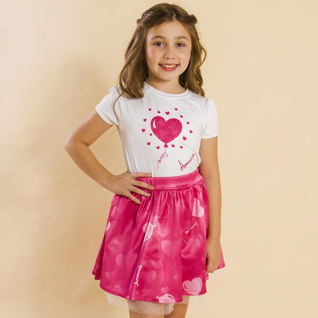Conjunto Infantil Blusa e Saia Social Balão Rosa