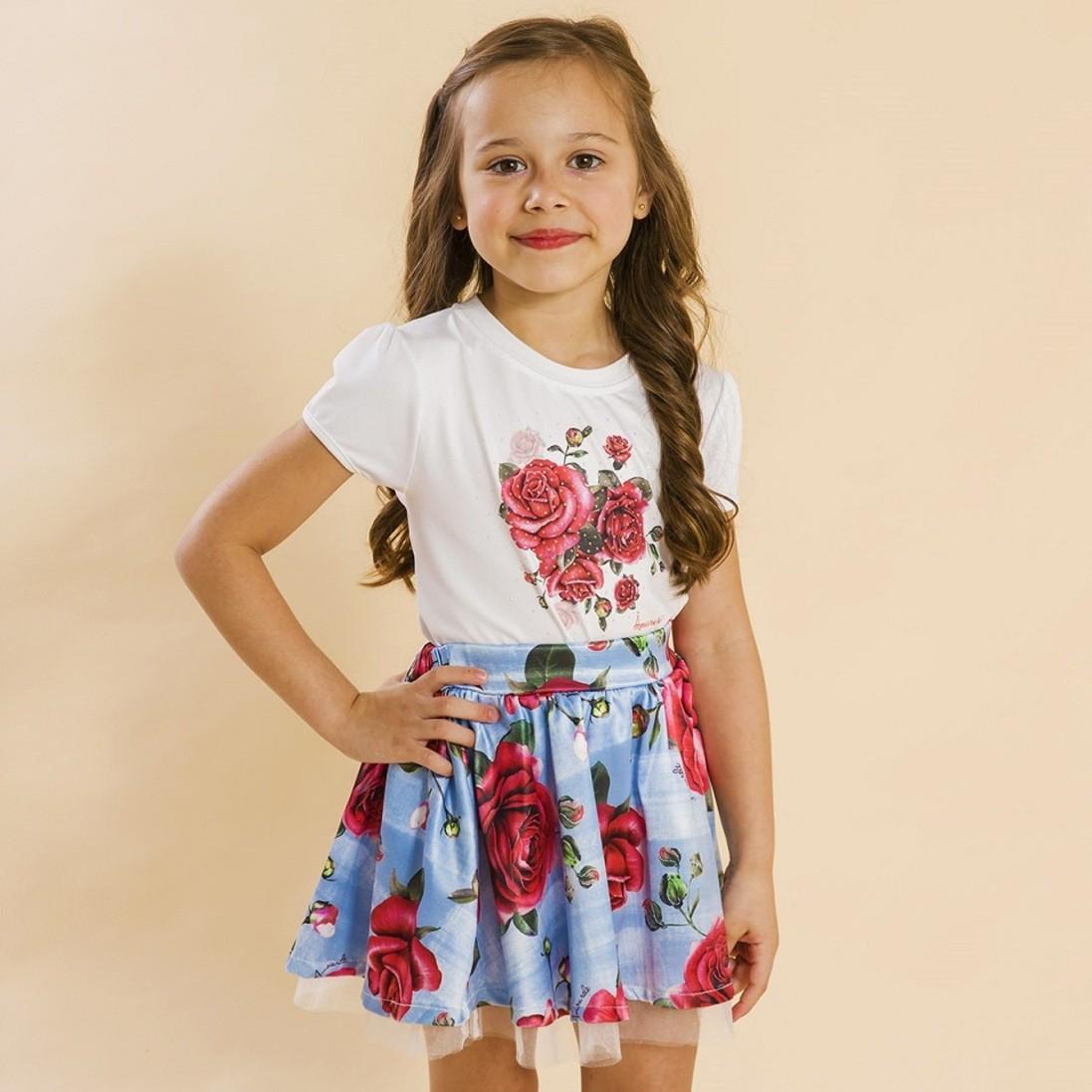 Conjunto Infantil Blusa e Saia Social Rosas Azul