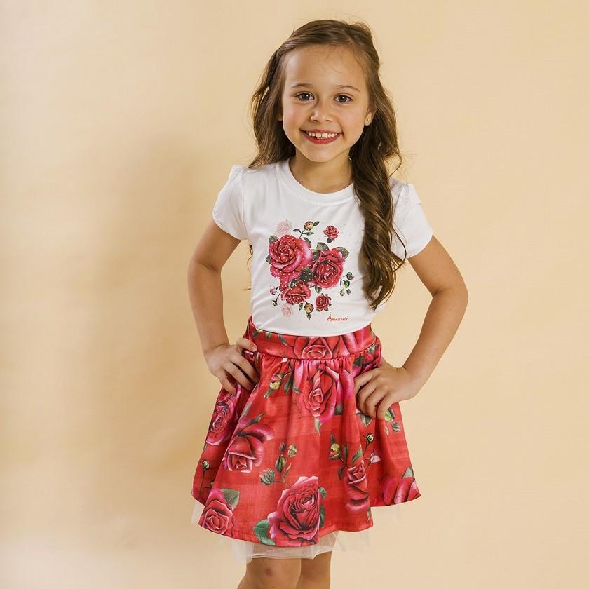 Conjunto Infantil Blusa e Saia Social Rosas Vermelho