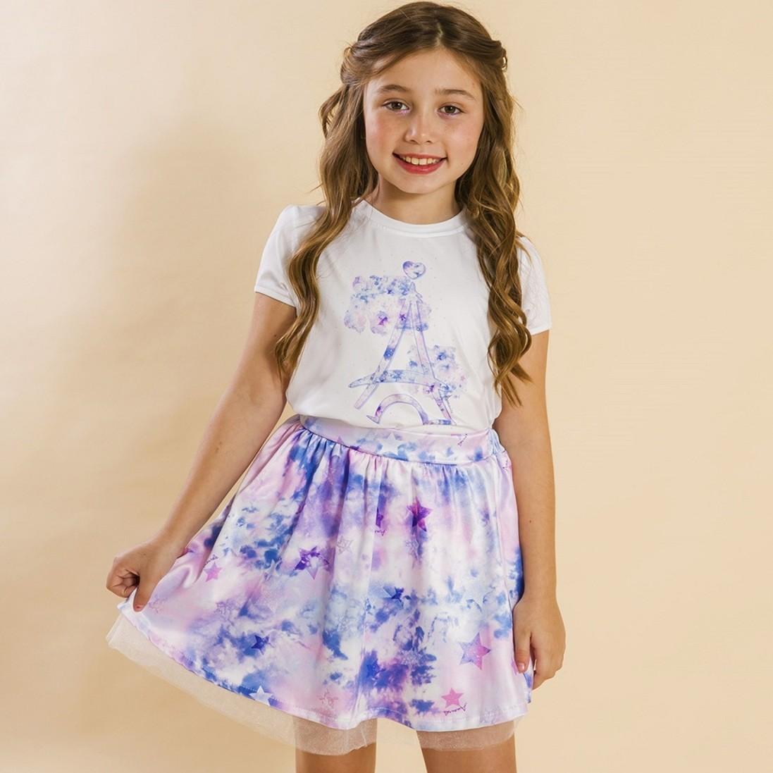 Conjunto Infantil Blusa e Saia Social Tie Dye Roxo