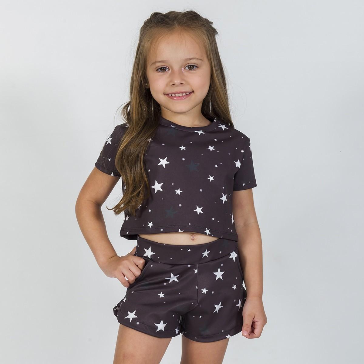 Conjunto Infantil Bomber Estrelas Preto